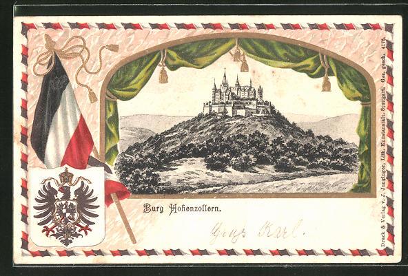 Passepartout-Lithographie Burg Hohenzollern, Panorama und Wappen