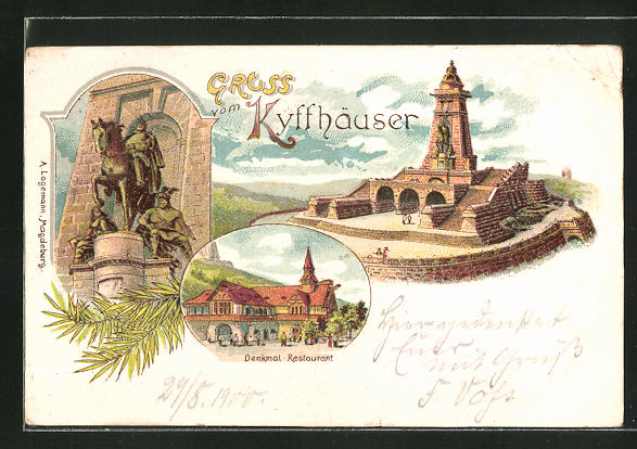 Lithographie Kyffhäuser, Denkmal-Restaurant, Reiterstandbild