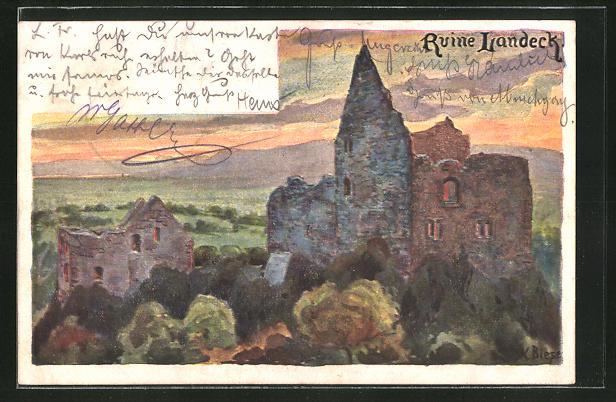 Künstler-AK Carl Biese: Ruine Landeck, Gesamtansicht