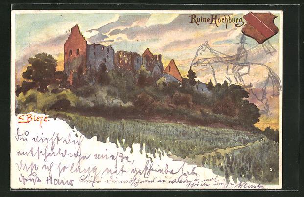 Künstler-Lithographie C.Biese: Ruine Hichburg, Panorama