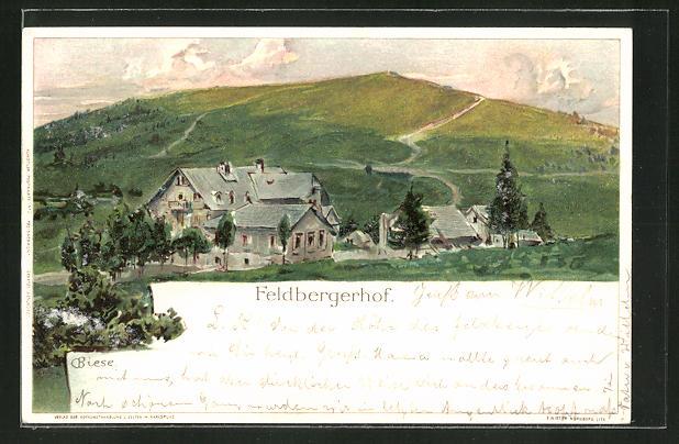 Künstler-Lithographie Carl Biese: Feldberghof, Totalansicht