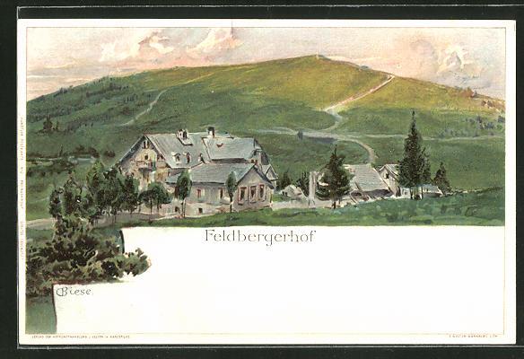 Künstler-Lithographie Carl Biese: Feldberghof, Gesamtansicht