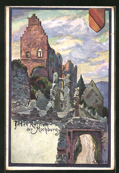 Künstler-AK Carl Biese: In den Ruinen der Hochburg, Wappen