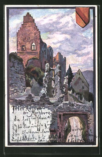 Künstler-AK Carl Biese: In den Ruinen der Hochburg, Motiv mit Wappen