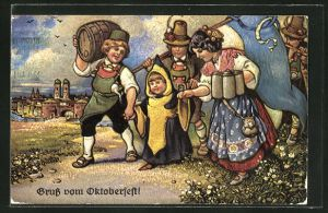 Künstler-AK Münchner Kindl grüsst vom Oktoberfest