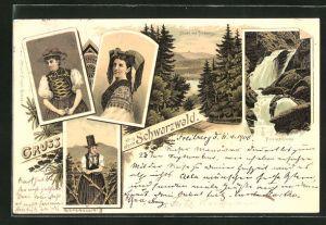 Lithographie Titisee, Panorama mit Feldberg, Frauen in Schwarzwälder Tracht, Ravennaschlucht