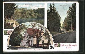 AK Hainspitz / Thür., Gasthaus am See, Teich & Waldpartie