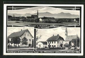 AK Kammer, Handlung v. M. Strasser vorm Rasp., Pfarrhaus, Schule & Kirche, Totalansicht m. Hochfelln & Hochgern