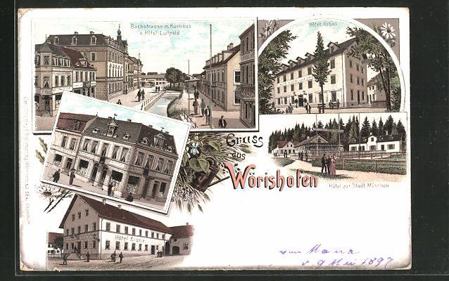 Lithographie Wörishofen, Hotel Krone, Bachstrasse m. Kurhaus & Hotel Luipold, Hotel urban, Hotel zur Stadt München