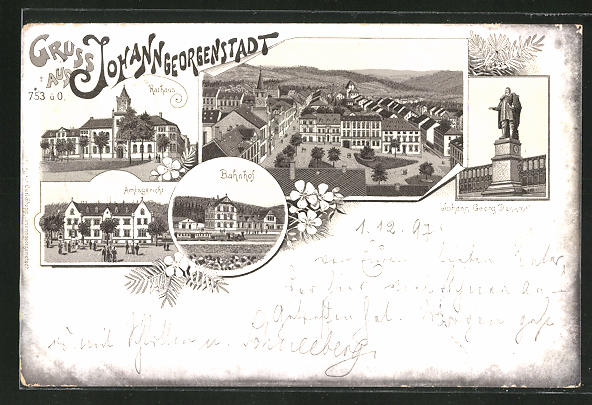 Lithographie Johann-Georgenstadt, Bahnhof, Amtsgericht, Johann-Georg Denkmal, Ortsansicht