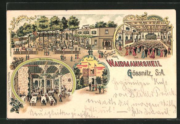 Lithographie Gössnitz / Sa., Gasthaus Waidmannsheil