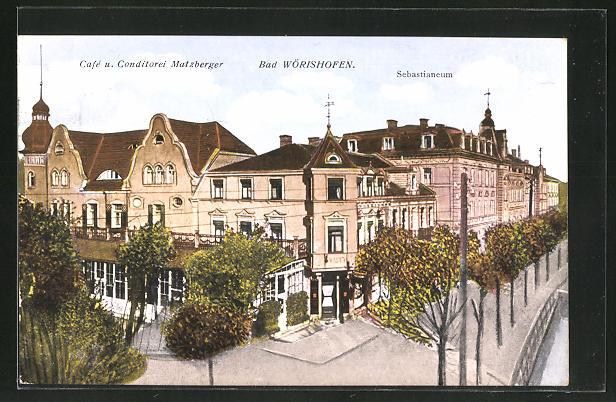 AK Bad Wörishofen, Café und Conditorei Matzberger, Sebastianeum