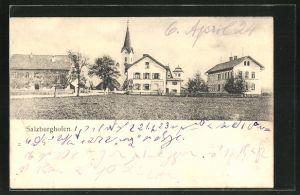 AK Salzburghofen, Ortspartie mit Kirchturm