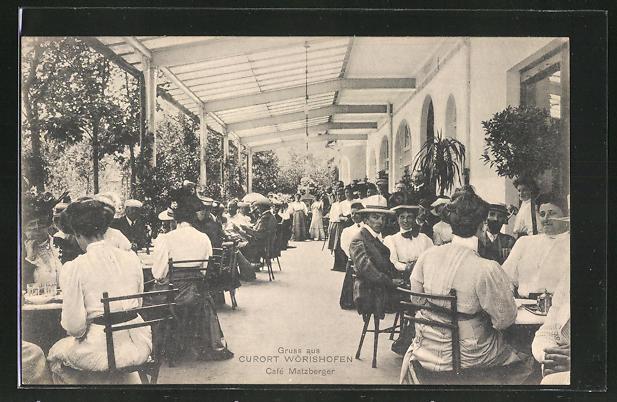 AK Bad Wörishofen, Café Matzberger, Gäste auf der Terrasse