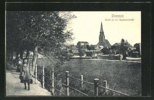 AK Demmin, Ortspartie mit Blick zur Kirche
