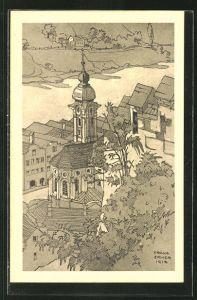 AK Burghausen a. Salzach, Blick auf die Spitalkirche