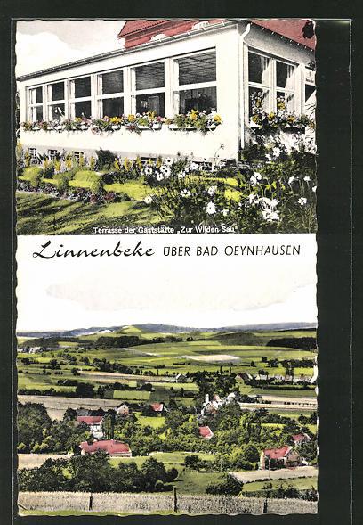 AK Linnenbeke, Gesamtansicht und Terrasse der Gaststätte