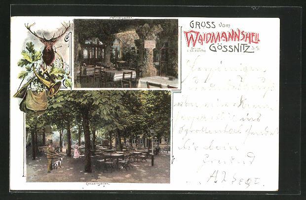 AK Gössnitz S.-A., Gasthaus Waidmannsheil von E. Seifarth