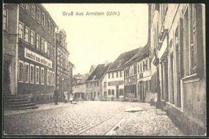 AK Arnstein / Utfr., Strassenpartie am Gasthof zum goldenen Lamm