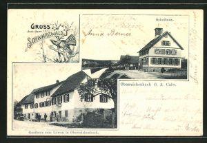 AK Oberreichenbach, Gasthaus zum Löwen, Schulhaus