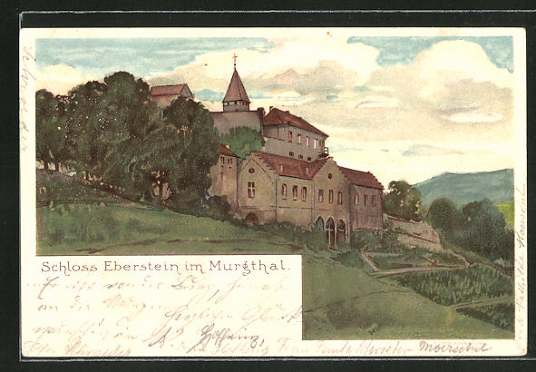 Lithographie Schloss Eberstein i/Murgthal, Totalansicht