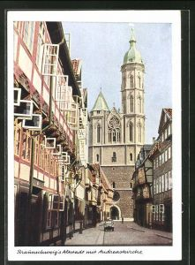 AK Braunschweig, Altstadt, Weberstrasse mit Andreaskirche