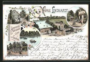 Lithographie Naunhof, Gasthaus Mühle Lindhardt, Seeansicht, Eingang, Mühle, Garten