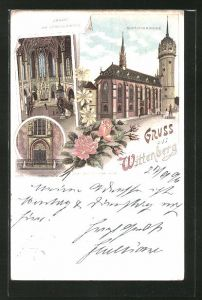 Lithographie Wittenberg, Schlosskirche, Inneres der Schlosskirche, Thesenthür