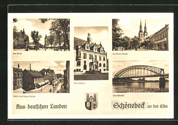 AK Schönebeck an der Elbe, Markt, Salzer Strasse, Rathaus, Breite Strasse, Elbbrücke