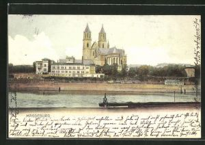 AK Magdeburg, Dom vom anderen Flussufer aus gesehen
