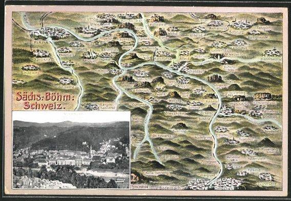 AK Schandau, Ortsansicht mit umliegenden Ortschaften
