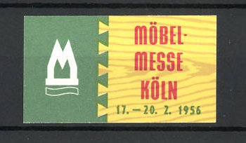 Reklamemarke Köln Möbel Messe 1956 Messelogo Nr 8310322