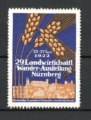 Reklamemarke Nürnberg, 29. Landwirtschaftl. Wander-Ausstellung 1922, Ortsansicht und Getreideähre