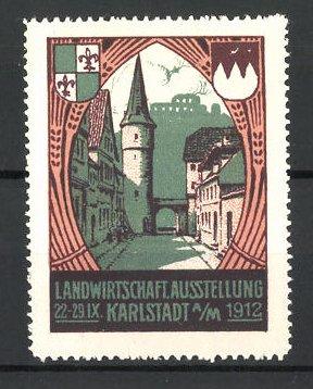Reklamemarke Karlstadt / Main, Landwirtschaftl. Ausstellung 1912, Strassenansicht mit Tor & Wappen
