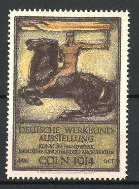 Reklamemarke Cöln, Deutsche Werkbund-Ausstellung 1914, nackter Reiter mit Fackel