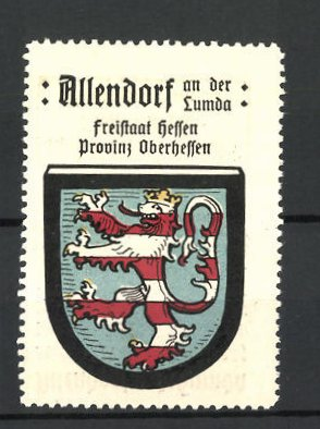 Reklamemarke Allendorf / Lumda, Freistaat Hessen, Provinz Oberhessen, Stadtwappen