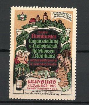 Reklamemarke Eilenburger Fachausstellung für Gastwirtschaft 1912, Koch und Wirt, Schlossansicht