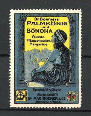 Reklamemarke Dr. Boemers Palmkönig & Bömona, feinste Pflanzenbutter-Margarine, Amazone blickt zum Wald