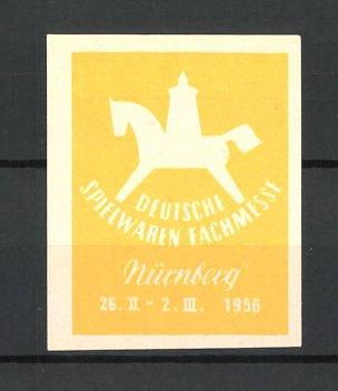 Reklamemarke Nürnberg, Deutsche Spielwaren Fachmesse 1956, Schaukelpferd