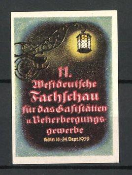 Reklamemarke Köln, 11. Westdeutsche Fachschau f. d. Gaststättengewerbe 1939, Laterne