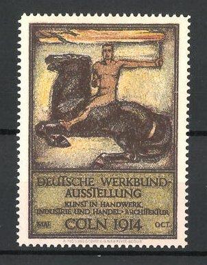 Reklamemarke Cöln, Deutsche Werkbund-Ausstellung 1914, Reiter mit Fackel