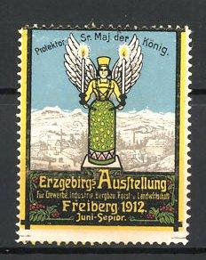 Reklamemarke Freiberg, Erzgebirgs Ausstellung 1912, Erzengel