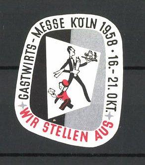 Reklamemarke Köln, Gastwirtsmesse 1958, Ober und Postbote