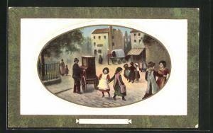 AK Mann spielt einen Leierkasten in einer Strasse mit tanzenden Kindern