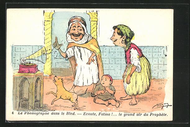 Künstler-AK arabische Familie hört einem Grammophon zu