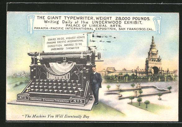 AK San Francisco, CA, Panama-Pacific International Exposition, die grosse Schreibmaschine, Ausstellung