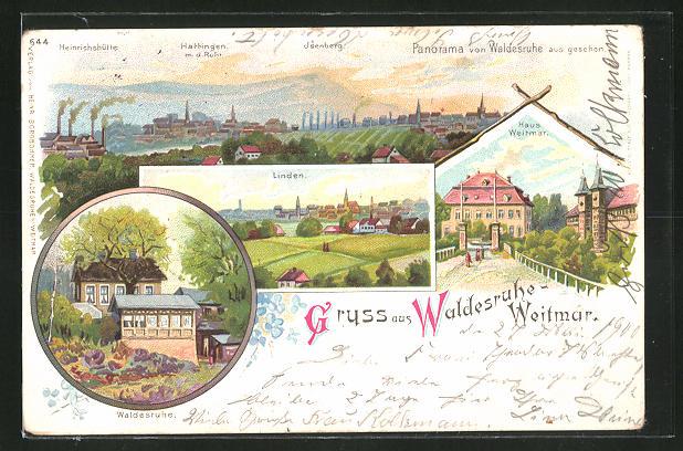 Lithographie Weitmar, Gasthaus Waldesruhe, Totalansicht, Panorama