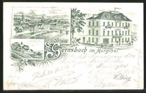 Lithographie Gernsbach i. Murgthal, Ortsansicht, Schloss Eberstein, Hotel zur Krone