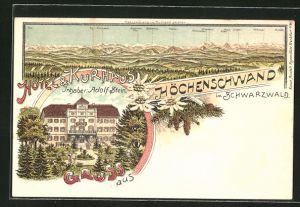 Lithographie Höchenschwand im Schwarzwald, Hotel & Kurhaus von Adolf Stein, Alpenpanorama vom Kurhaus gesehen