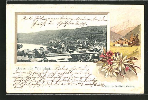 Passepartout-Lithographie Waldshut, Gesamtansicht mit Haus und Blumen